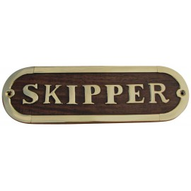 Door name plate - SKIPPER, wood/brass, 17x5cm