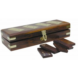 Domino-Game-Box, wood/brass, 28 stones, 20,5x7x5cm