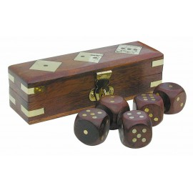 Dice-Game-Box, wood/brass, 12,5x4x4cm