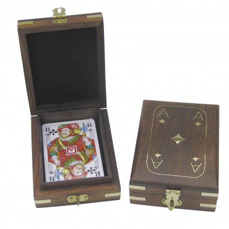 Box with Playing Cards, wood/brass, 11,5x9x3,7cm