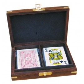 Box with Playing Cards, wood/brass, 15,5x11,5x4cm