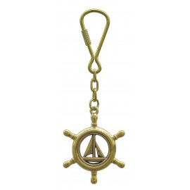 Keyring - Steering wheel with sailboat