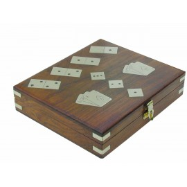 Box with dominos,dice & playing cards, wood/brass, 20x17x5cm