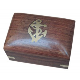 Wooden box, with brass anchor inlay, 7,5x5x5cm