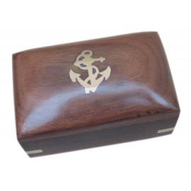 Wooden box, with brass anchor inlay, 10x6x5,5cm