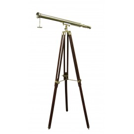 Telescope on stand, brass/wood, L: 69cm, H: 130cm