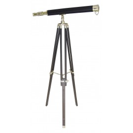 Telescope on stand, brass/leather/wood, L: 69cm, H: 130cm