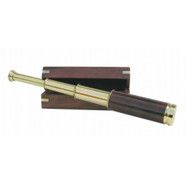 Telescope, wood/brass, L: 35cm, in wooden box