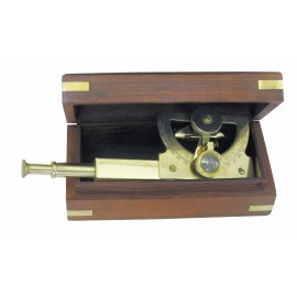 Angle Sextant, brass, L: 18cm, in wooden box