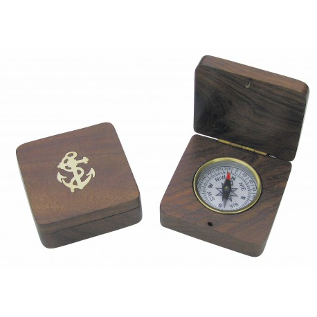 Compass fixed in wooden folding box