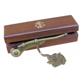 Whistle with chain, antique brass, 12cm, in wooden box
