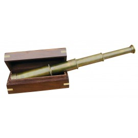 Telescope, antique brass, L: 35cm, in wooden box