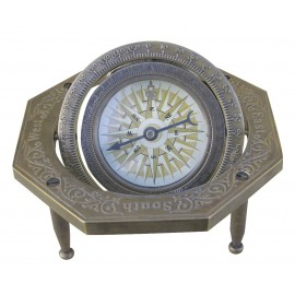 Octagonal compass, antique brass, 10x10x4cm