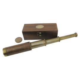 Telescope, brass with leather, L: 38cm, in wooden box, antique