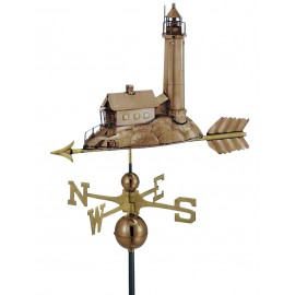 Weather vane - Lighthouse, copper/brass, 40x40/70cm