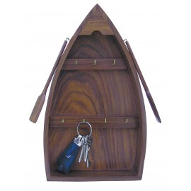 Keyring-rack in boat shape, wood, 22x37,5x6cm