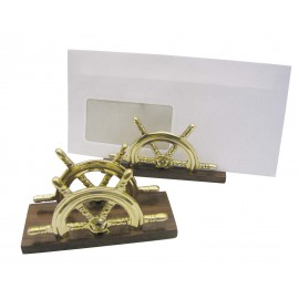 Letter holder - Wheel, brass/wood, 12,5x5x7cm