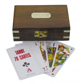 Tarot playing cards in wooden box