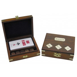 Tarot playing cards & dice in wooden box