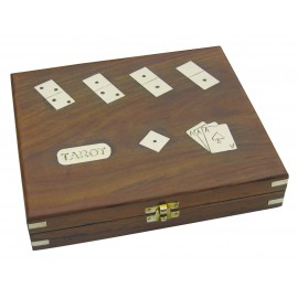 Tarot & romme playing cards, dice & dominos in wooden box, 24x21x5cm