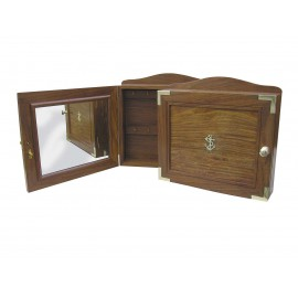 Key box, wood, with mirror inside the door, 30,5x7x29cm