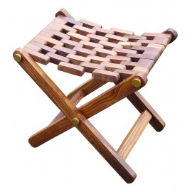 Folding stool, wood/brass, 48x35x45cm