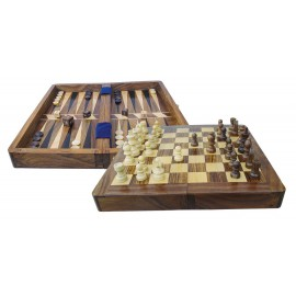 Game box - Chess & Backgammon, wood, opened: 25,5x25,5x2,2cm