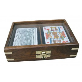 Playing cards box, wood with glass lid, including double cards, 16x11,5x4cm