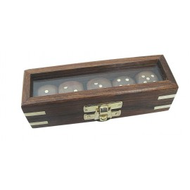 Dice box, wood with glass lid, 5 dice, 12,5x4x3,5cm