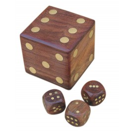 Dice-shape box with 5 dice, wood/brass, 6x6x6cm