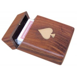 Card box with flap lid, wood, including cards, 11x7,5x3,5cm