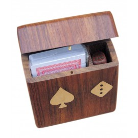 Card-dice-box with flap lid, wood, including cards, 11x10x3,5cm