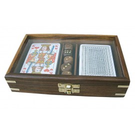Card-dice-box, wood with glass in the top, including cards, 18x11,5x4cm