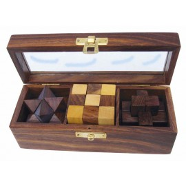 3 wooden puzzle games in wooden box with glass lid, 17,5x6,5x6cm
