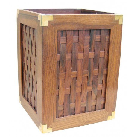 Waste paper basket, wood with brass edges, 23x23x31cm