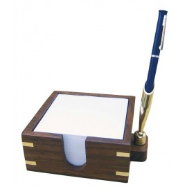 Memo pad with penholder, wood/brass, 13x11,5x5cm