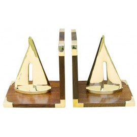 Bookends - Sailing yacht, wood/brass, 1 pair, 30,5x10x17cm