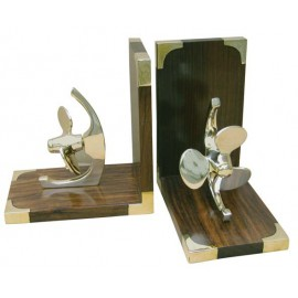 Bookends - Ship's propellor, wood/brass, 1 pair, 29x9x15,5cm