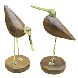Figure - Bird pair, wood/brass, H: 22cm