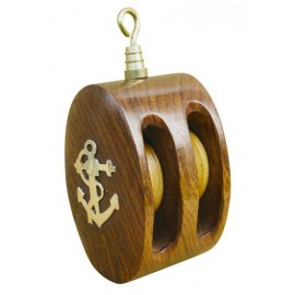 Double pully, wood/brass, 9,5x4,5x4,2cm