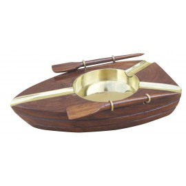 Ashtray - Rowing boat, wood/brass, 14,5x8,5cm