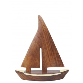 Sailing boat, wood/brass, L: 23cm, H: 27,5cm