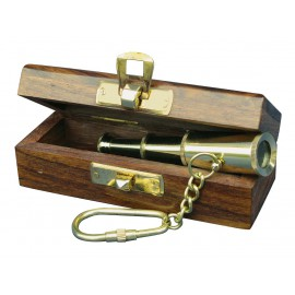 Keyring - Telescope in wooden box
