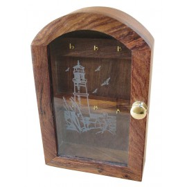 Key box, wood with glass front with lighthouse design, 25x16x6cm
