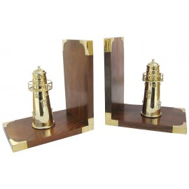 Bookends - Lighthouses, wood/brass, 1 pair, 30,5x16,5x10cm