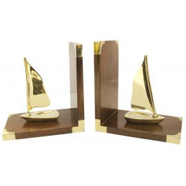 Bookends - Sailing boats, wood/brass, 1 pair, 30,5x16,5x10cm