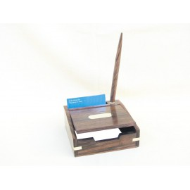 Wooden memo pad box including wooden ball pen, 13x13x5/21cm