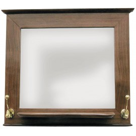 Wooden mirror with tray and 2 double brass hooks