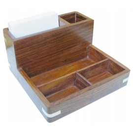 Penholder/memo-box, wood, 16,5x8x16cm