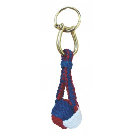 Keyring - Monkey Fist, cotton/brass, red/white/blue